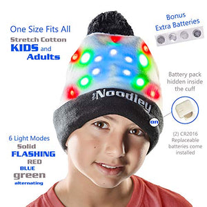 LED Flashing Light Up Beanie Hat Cool Stuff Gifts for Boys Girls Glow in the Dark (One Size)