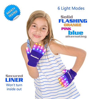 2 Pairs LED Gloves Light up Toys for Boys & Girls Cool Gifts for Kids & Teens - Extra Batteries
