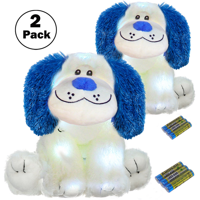 "16"" LED Stuffed Animals Light Up Glow Plush Toys Kids Battery Operated Night Lights Easter Gifts for 4 Year Old Boys - Plush Puppy Dog Changes 4 Colors (2 Pack)"
