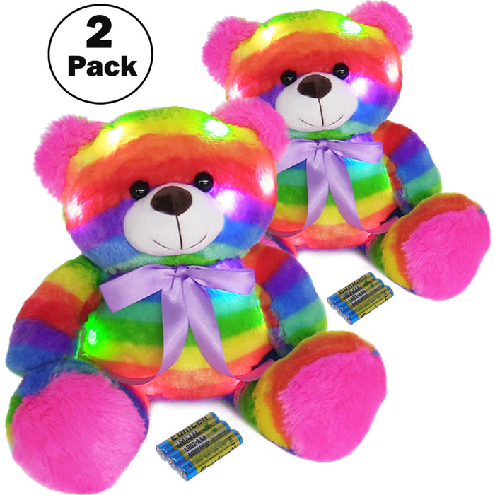 "16"" LED Stuffed Animals Light Up Glowing Plush Toys Kids Battery Operated Night Lights Easter Gifts for Toddlers, Boys & Girls - Rainbow Teddy Bear  (2 Bears Pack)"