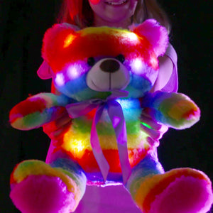 "16"" LED Stuffed Animals Light Up Glowing Plush Toys Kids Battery Operated Night Lights Easter Gifts for Toddlers, Boys & Girls - Rainbow Teddy Bear"