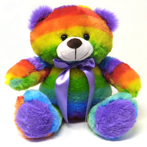 "12"" Plush Rainbow Teddy Bear Stuffed Animal Soft and Cuddly Bright Colors"