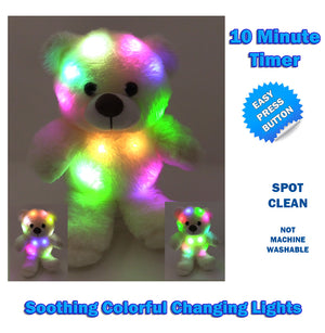 "The Noodley 11"" LED Glow Stuffed Animals Light Up Plush Sleep Toy Kids Night Lights Easter Gifts for Toddlers, Boys & Girls - White Teddy Bear"