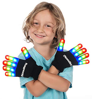 LED Light Up Gloves for Kids Cool Toys for Boys with Extra Batteries Indoor Play Outdoor Game Ideas Camping Ages 4 5 6 7 (Small, Black)