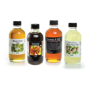 Healing Oils Set - Black Seed Oil - Vitamin E Oil - Shea Nut Oil - Black Jamaican Castor Oil