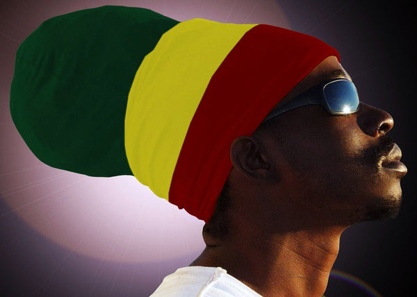 Unisex Green Yellow Red (Green Top) Rasta Headwrap Turban