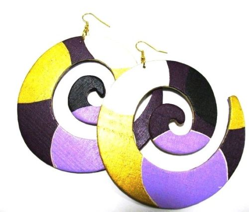 Purple Gold Swirl Handmade Multi Statement Dangle Wood Earrings