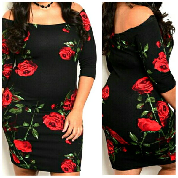 Black Red Rose Plussize Off Shoulder Bodycon Midi Party Dress