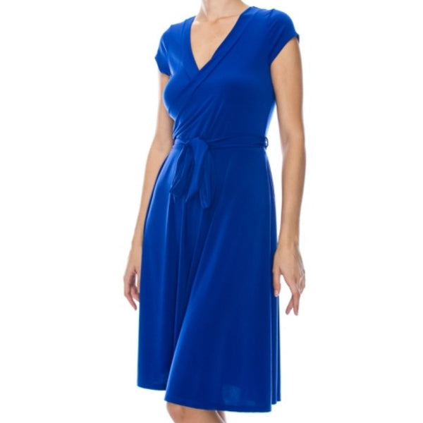Royal Blue Solid Faux Wrap Knee Length Cap Sleeve Dress