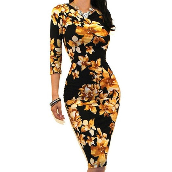 Black Yellow Floral Sexy 3/4 Sleeve Bodycon Party Cocktail Dress