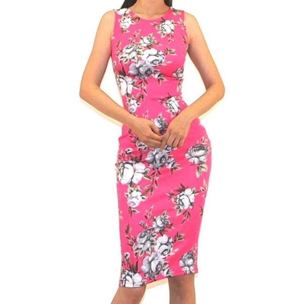 Hot Pink Gray Floral Sexy Sleeveless Bodycon Party Cocktail Dress