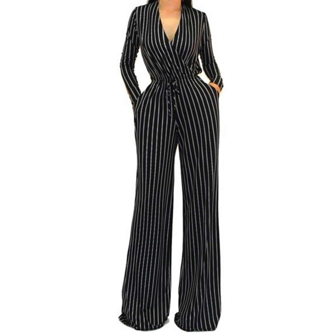 Black White Stripe Casual V Neck Wide Leg Jumpsuit
