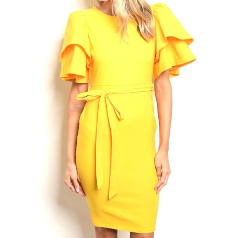 Mustard Flutter Sleeve Bodycon Party Cocktail Evening Midi Dress