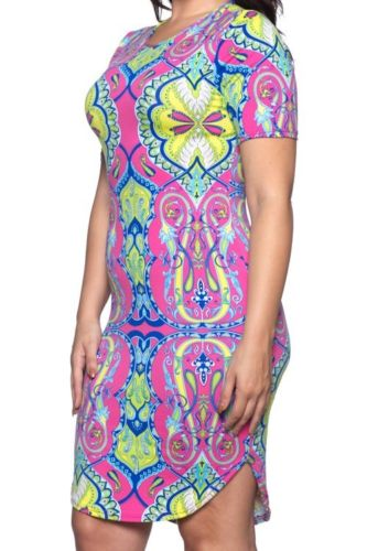 Capella Pink Tribal Pattern Print Basic Bodycon Short Sleeve Dress