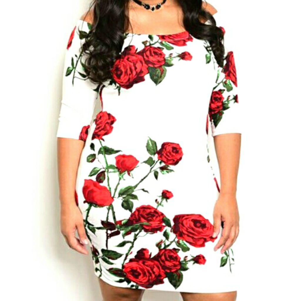 White Red Rose Plussize Off Shoulder Bodycon Midi Party Dress