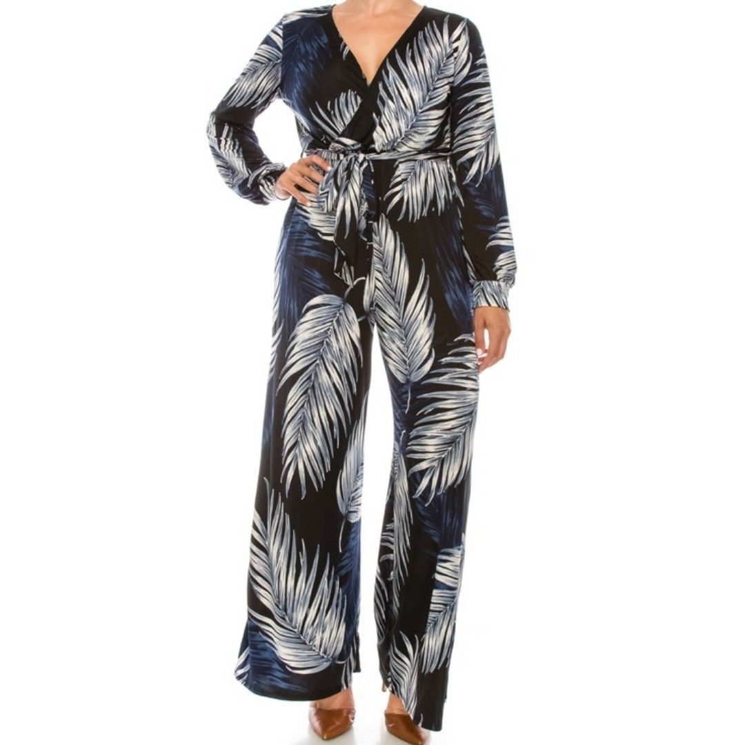 Navy White Palm Leaves Long Bell Sleeve Plussize Jumpsuit