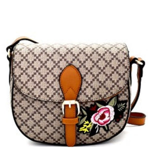 Brown Tan Embroidery Flower Flap Closure Cross Body Handbag