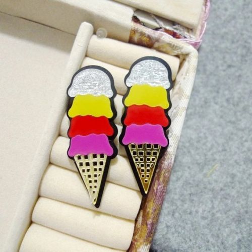 Ice Cream Cone Acrylic Stud Statement Fashion Jewelry Earrings