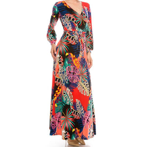 Janette Fashion Banana Leaf Floral Faux Wrap Cuff LongSleeve Maxi Dress