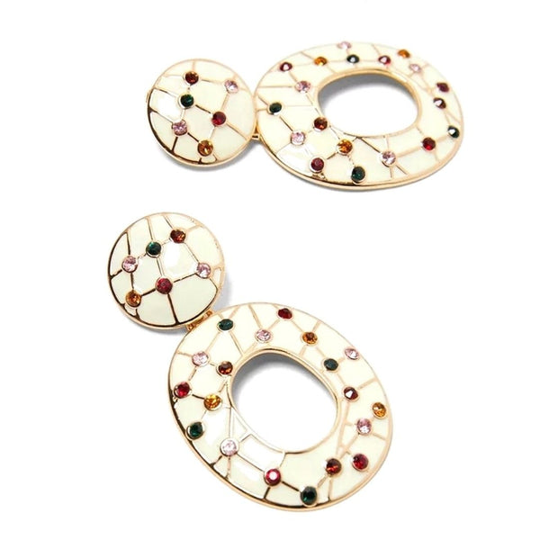 Cream Rhinestone Splash Dangle Drop Fashion Jewelry Earrings