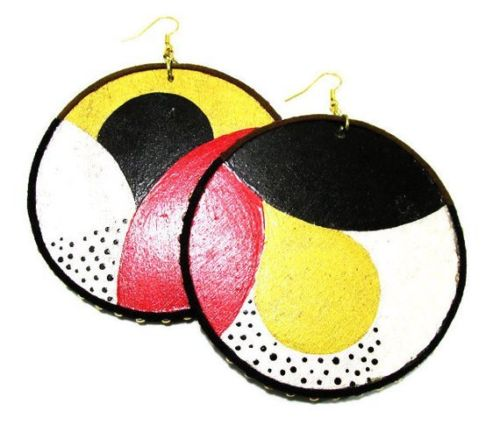 Retro Circles Handmade Multi Color Statement Dangle Wood Earrings