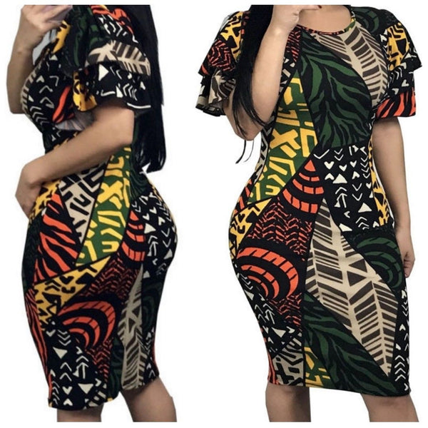 Safari Pattern Multi Color Ruffle Short Sleeve Bodycon Dress