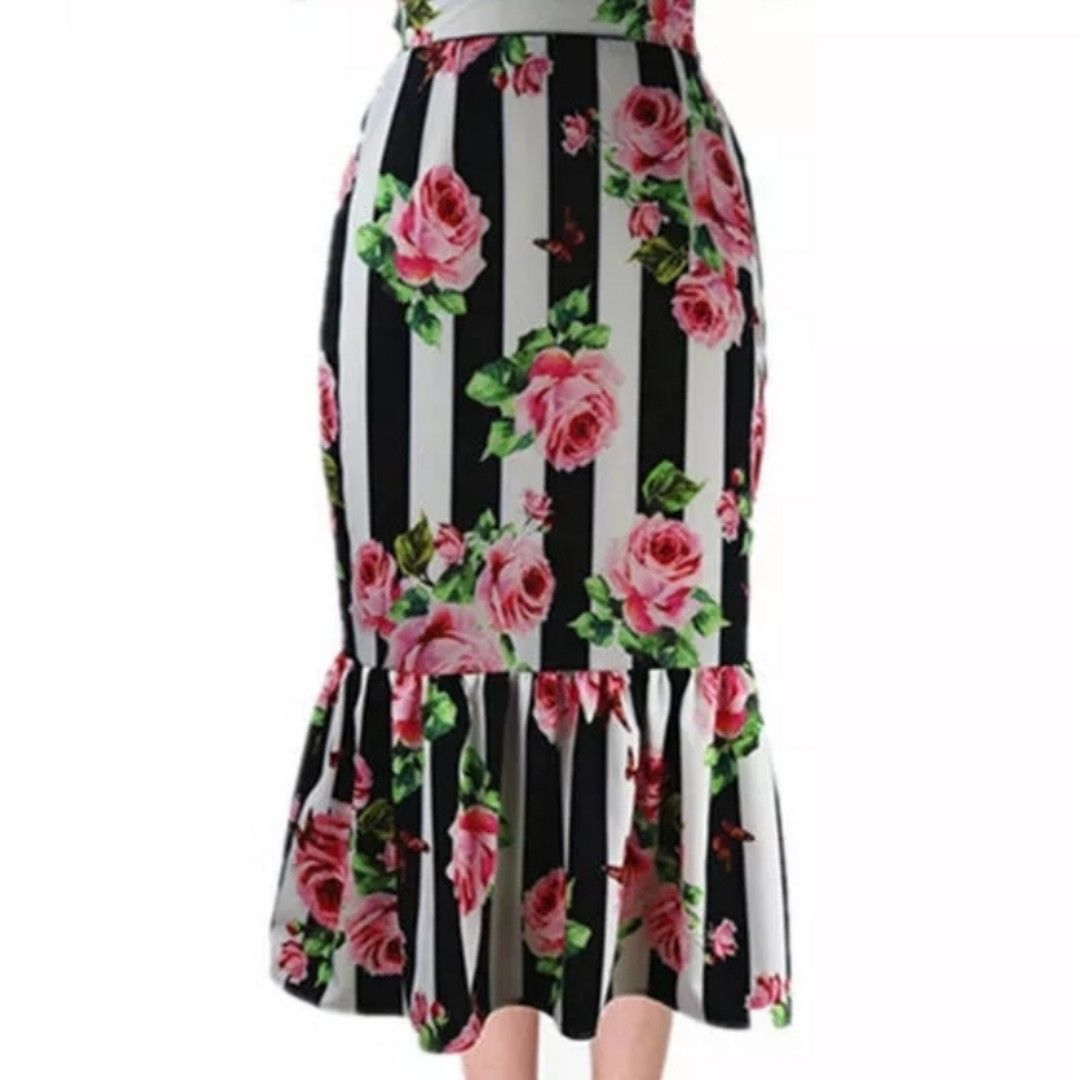 Pintstripe Black White Pink Floral Pencil Ruffle Skirt