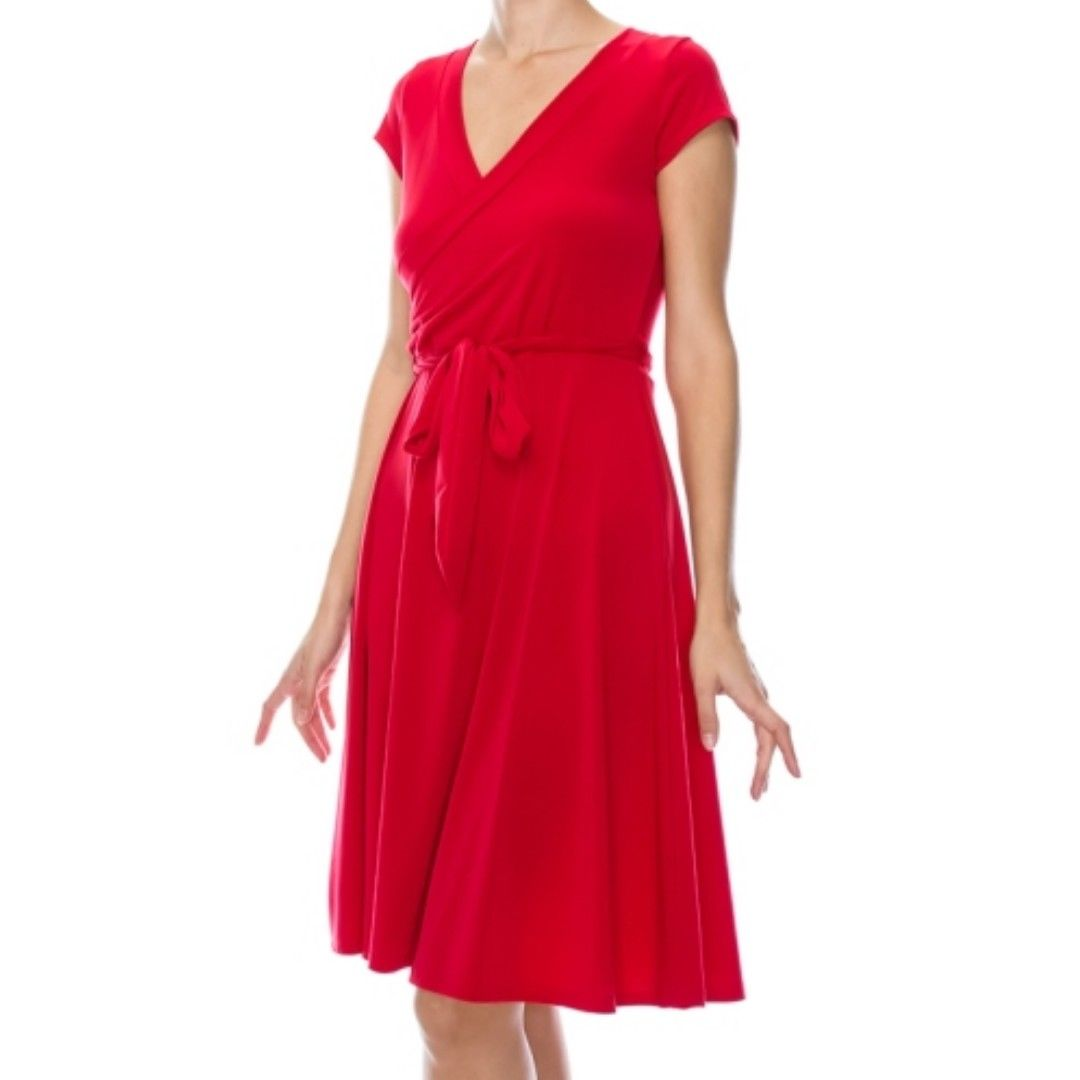 Janette Fashion Faux Wrap Knee Length Cap Sleeve Red Dress