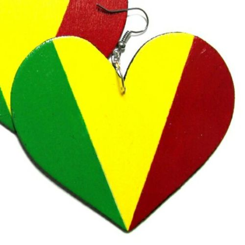 RASTA HEART Multi-Color Fashion Jewelry Dangle Handmade Earrings