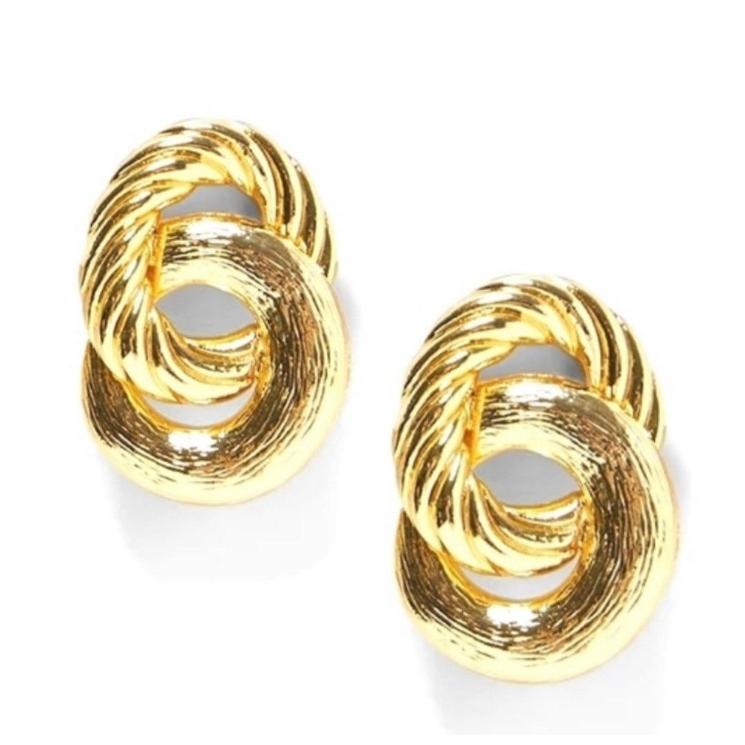 Rope Knot Gold Tone Stud Fashion Jewelry Earrings
