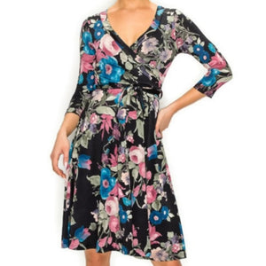 Blush Blue Floral Faux Wrap Knee Length Dress