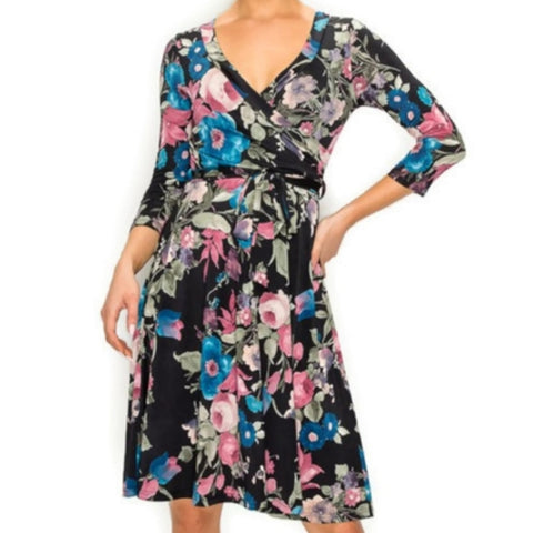 Janette Fashion Blush Blue Floral Faux Wrap Knee Length Dress