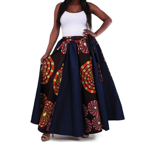 Blue Denim African Multi Circle Print Maxi Skirt with Matching Headwrap