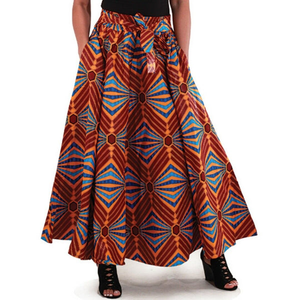 Retro African Multi Color Maxi Skirt with Matching Headwrap