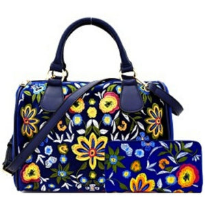 Flower Embroidered Boston Faux Velvet Leather Satchel Wallet Handbag Set