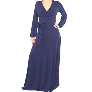 Navy Solid Faux Wrap Cuff Sleeve Maxi Dress