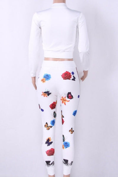 White Floral Casual Sexy Activewear Sportswear Jogger Tracksuit
