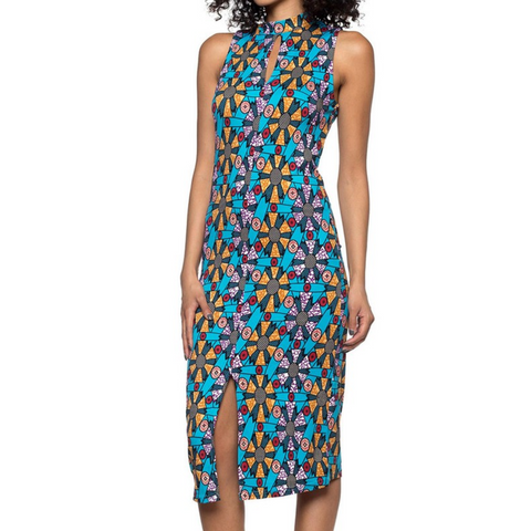Capella Blue Tribal Pattern Print Basic Bodycon Keyhole Sleeveless Dress