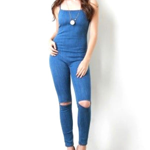 Blue Denim Spaghetti Strap Ripped Knee Stylish Casual Jumpsuit