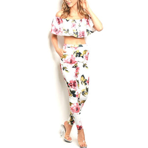 White Pink Floral Slim Fit Sexy Off Shoulder Top Pant Set
