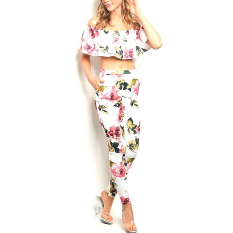 White Pink Floral Slim Fit Off Shoulder Top Pant Set