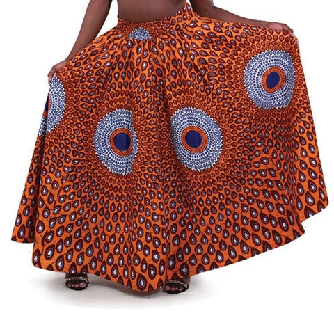 Orange Blue African Multi Print Maxi Skirt Matching Headwrap