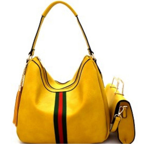 Mustard Striped Detail Tassel Hobo Crossbody Wristlet Make Up Handbag Set