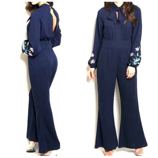 Navy Blue Bowtie Flower Embroidery Sleeve Wide Leg Casual Jumpsuit
