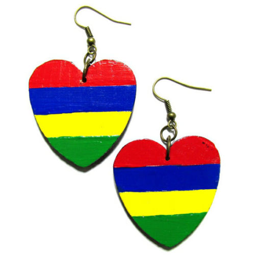 MAURITIUS Africa LOVE Multi-Color Fashion Jewelry Dangle Handmade Earrings