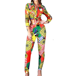 Yellow Multi Color Medallion Casual Long Sleeve Blouse Legging Suit