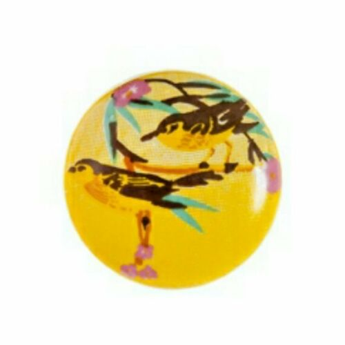 Yellow Bird Design Ceramic Decorative Round Drawer Cabinet Knob - Set of 6