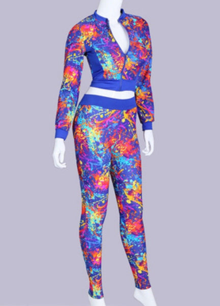 Abstract Painted Blue Casual Activewear Sportswear Tracksuit