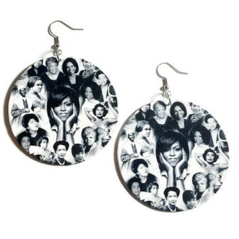 Phenomenal Black Women of History Statement Dangle Wood Earrings