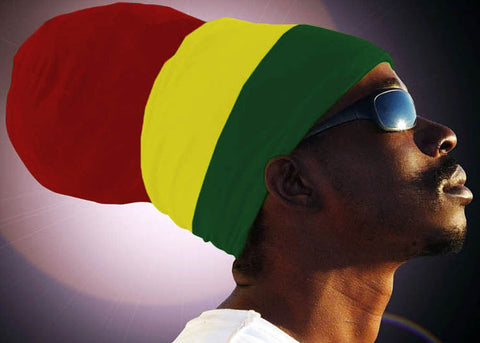Unisex Red Yellow Green (Red Top) Rasta Headwrap Turban
